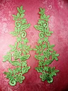 """GB360X Mint Green Floral Venise Lace Mirror Pair Appliques 9.5"""""""