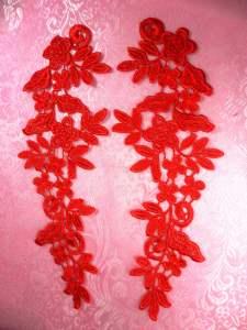 "GB360X Red Floral Venise Lace Mirror Pair Appliques 9.5"""