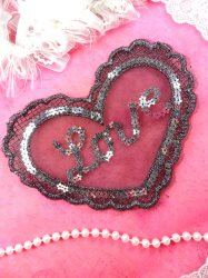 GB361 Sequin Applique Silver Black Love Heart Patch 6.25""