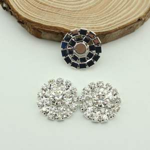 GB365 Silver Rhinestone Button 7/8""