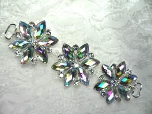 "GB366 Aurora Borealis Crystal AB Rhinestone Applique Embellishment 4.25"""