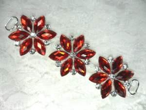"""GB366 Garnet Red Crystal Rhinestone Applique Embellishment 4.25"""""""