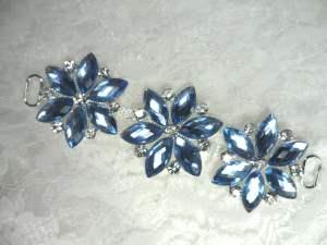 "GB366 Light Blue Crystal Rhinestone Applique Embellishment 4.25"""