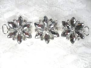 """GB366 Silver Crystal Rhinestone Floral Applique Embellishment 4.25"""""""