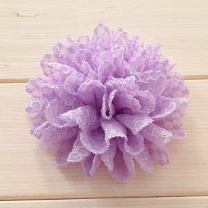 GB373 Lavender Tulle Eyelet Fabric Floral Applique 4""