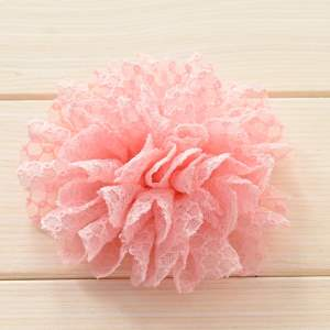 GB373 Pink Tulle Eyelet Fabric Floral Applique 4""