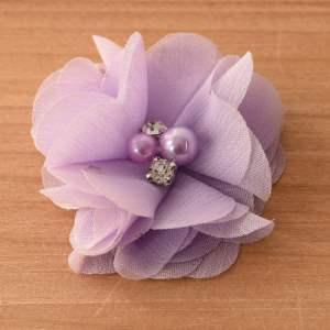 """GB375 Lavender Chiffon Crystal Rhinestone Pearl Floral Applique 2"""""""