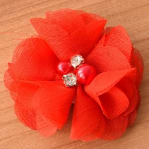 GB375 Red Chiffon Crystal Rhinestone Pearl Floral Applique 2""