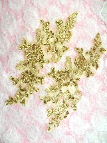 GB379 Floral Appliques Gold Sequin Mirror Pair Clothing Patch Motifs 9.25""