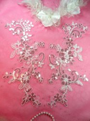 GB383 Flower Appliques White Silver Venice Lace Mirror Pair w/Sequins 11""