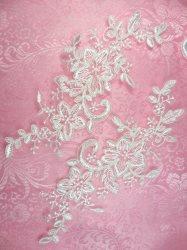 """GB385 Venice Lace Appliques White Mirror Pair Flower Bridal Patch 8"""""""