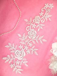GB387 Flower Applique White Silver Venice Lace Craft DIY Patch 14.25""