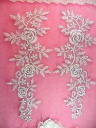 "GB388 Flower Appliques White Silver Venice Lace Mirror Pair Dance Patch 14.25"""