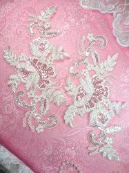 GB389 Flower Appliques White Antique Venice Lace Mirror Pair w/Sequins