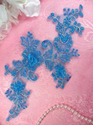 """GB400 Applique Venice Lace Turquoise Flower with Silver Edge 10.25"""""""