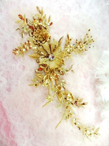 "Embroidered 3D Applique Gold Floral Sequin Patch Rhinestone Center 14"" (DH70)"