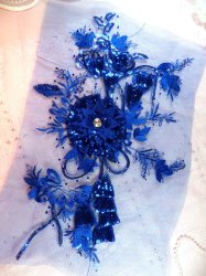 GB418 Embroidered Applique Rhinestone Center Blue 3D Sequin Floral Patch 15.25""
