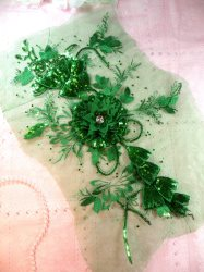 GB418 Embroidered 3D Applique Green Floral Sequin Patch Rhinestone Center 17.25""