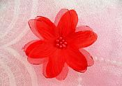 "Organza Flower Applique 3D Sheer Red Glitter Beaded 2.5"" (GB422-rd)"