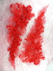 GB430 Embroidered Appliques Red Mirror Pair Floral Sequin Patch 13.75""
