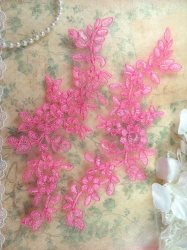 GB431 Embroidered Appliques Pink Mirror Pair Floral Patch 9.75""