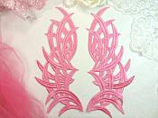 "Embroidered Appliques Pink Mirror Pair Venice Lace Dance Costume DIY 8.5"" (GB433X)"