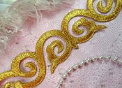 """Scroll Trim Embroidered Gold Iron On 1.75"""" (GB435-gl)"""