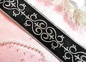 "Embroidered Trim Black Silver Metallic Scroll Iron On 2"" (GB436-bksl)"