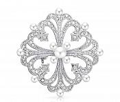 "Bridal Rhinestone Brooch Pin Silver Crystal Pearl Glass 2"" (GB437-slcrp)"