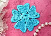 "Embroidered Applique Flower Venice Lace Turquoise Floral 2"" (GB439-tr)"