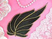 "Leaf Applique Black Brown and Gold Metallic Embroidered Iron On 7"" (GB442)"