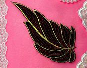 "Leaf Applique Black Burgundy and Gold Metallic Embroidered Iron On 7"" (GB442)"