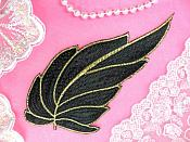 "Leaf Applique Black and Gold Metallic Embroidered Iron On 7"" (GB442)"