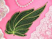 "Leaf Applique Black Lime Green and Gold Metallic Embroidered Iron On 7"" (GB442)"