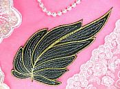 "Leaf Applique Black White and Gold Metallic Embroidered Iron On 7"" (GB442)"