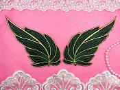 "Leaf Appliques Mirror Pair Black Green and Gold Metallic Embroidered Iron On 7"" (GB449)"