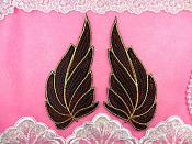"Leaf Appliques Mirror Pair Black Red and Gold Metallic Embroidered Iron On 7"" (GB449)"