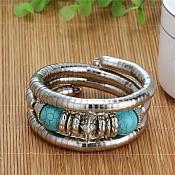 Turquoise Stone Bangle Bracelet Silver Metal Tube Vintage Fashion Jewelry (GB452-tr)