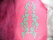 """Embroidered Appliques Aqua Mirror Pair Floral 13"""" (GB458X-aq)"""