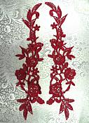 "Embroidered Appliques Burgundy Mirror Pair Floral 13"" (GB458X-bur)"