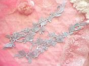 """Embroidered Appliques Light Blue Mirror Pair Floral 13"""" (GB458X)"""