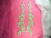 "Embroidered Appliques Lime Green Mirror Pair Floral 13"" (GB458X-lm)"