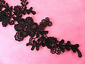 "Embroidered Appliques Black Mirror Pair Floral 12"" (GB459X-bk)"
