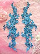 "Embroidered Appliques Turquoise Mirror Pair Floral 12"" (GB459X)"