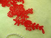 """Embroidered Appliques Red Mirror Pair Floral 12"""" (GB459X-rd)"""
