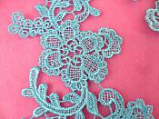 """Embroidered Appliques Light Turquoise Mirror Pair Floral 12"""" (GB459X)"""