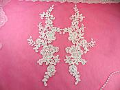 "Embroidered Appliques White Mirror Pair Floral 12"" (GB459X-wh)"