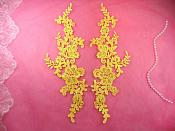 "Embroidered Appliques Yellow Mirror Pair Floral 12"" (GB459X-yl)"