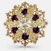 "Snowflake Brooch Gold Plum Crystal Rhinestone Glass Pin 2"" (GB468-plgl)"
