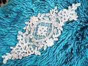 "Applique White Venice Lace Victorian Bridal Motif 9"" (GB474)"